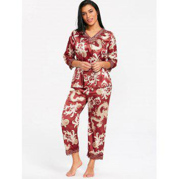 Print Satin Sleepwear - WINE RED ONE SIZE