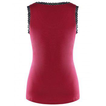 Chains Embellished Wings Skull Tank Top - RED L