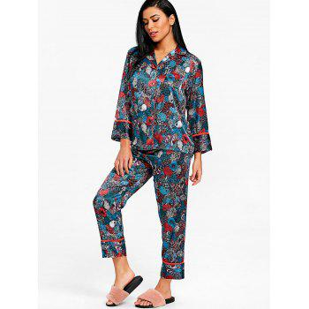 Two Piece Satin Sleepwear Suit - CADETBLUE L