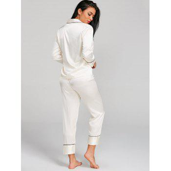 Two Piece Satin Sleepwear Top and Pants - MILK WHITE M