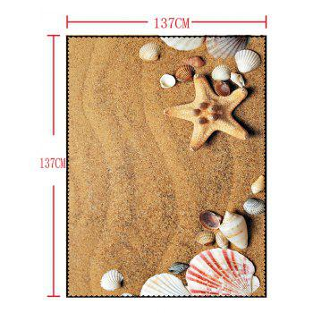 Sand Shell Starfish Print Waterproof Dining Table Cloth - YELLOW W54 INCH * L54 INCH