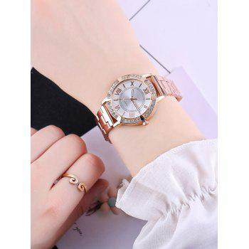 Roman Numeral Rhinestones Steel Band Watch - ROSE GOLD