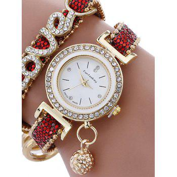 Montre Ronde avec Bracelet à Inscription Love en Strass - Rouge