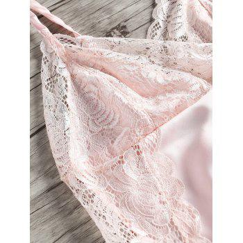 Lace Insert Low Back Slip Babydoll - LIGHT PINK 2XL