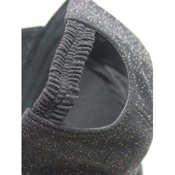 Unique Bowknot Embellished Glitter Snapnack Hat - BLACK