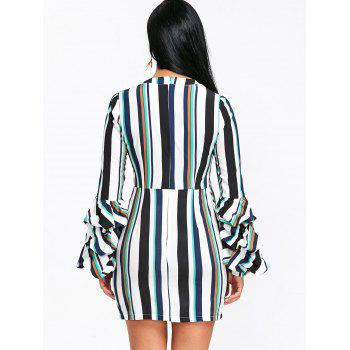 Striped Plunging Mini Dress - COLORMIX M