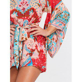 Floral Print Drop Shoulder Romper - RED M