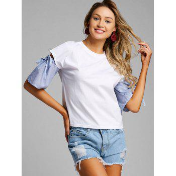 Cut Out Striped Color Block Blouse - WHITE M