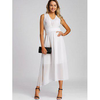 Empire Waist Chiffon Midi Dress - WHITE M