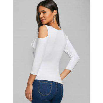 Cold Shoulder Surplice Tee - WHITE L