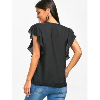 V Neck Flounced Chiffon Blouse - BLACK S
