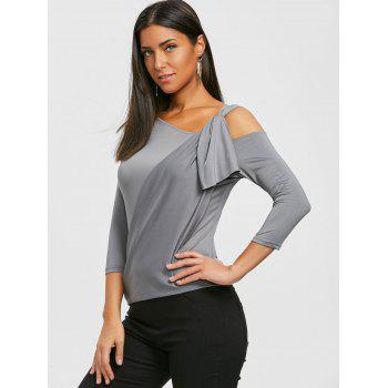 Cold Shoulder Surplice Tee - DEEP GRAY XL