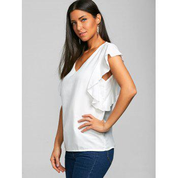 V Neck Flounced Chiffon Blouse - WHITE M