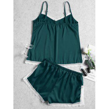 Summer Cami Lace Trim Sleep Set - GREEN M