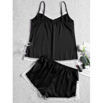 Summer Cami Lace Trim Sleep Set - BLACK XL
