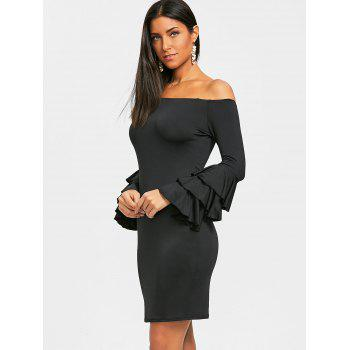 Layered Sleeve Off The Shoulder Mini Dress - BLACK M