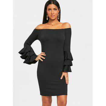 Layered Sleeve Off The Shoulder Mini Dress - BLACK XL