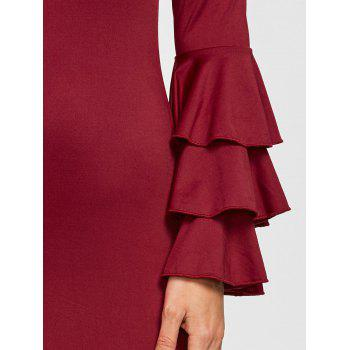 Layered Sleeve Off The Shoulder Mini Dress - WINE RED XL
