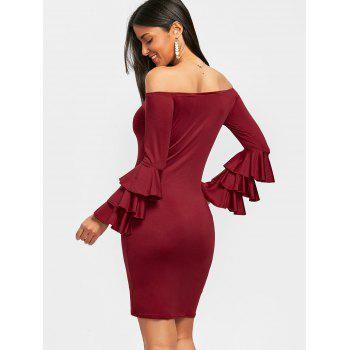 Layered Sleeve Off The Shoulder Mini Dress - WINE RED L