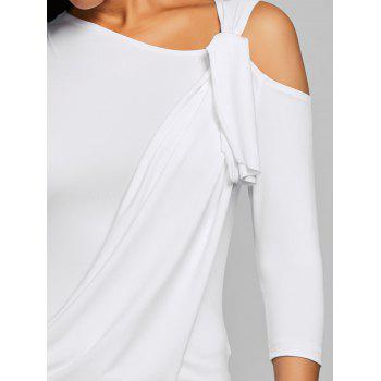 Cold Shoulder Surplice Tee - WHITE S