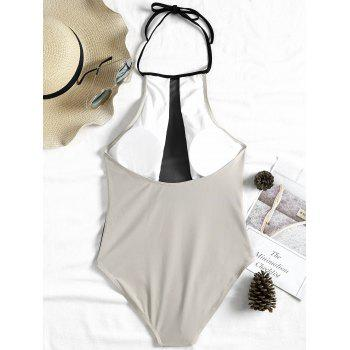 Two Tone One Piece Backless Swimsuit - GRAY M