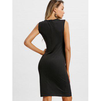 Plunge Lace Up Party Dress - BLACK M