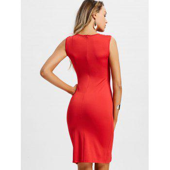 Plunge Lace Up Party Dress - RED L