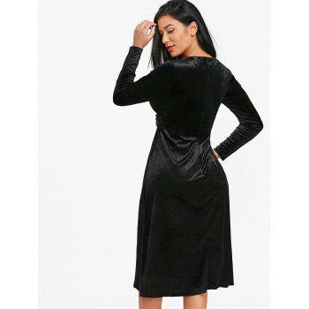 Twist Front Velvet Flare Dress - BLACK M