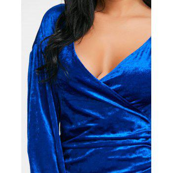 Draped Asymmetric Velvet Dress - BLUE S