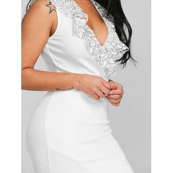 Plunge Applique Bodycon Party Dress - WHITE L