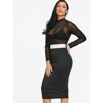 Sheer Mock Neck Bodycon Dress - BLACK S