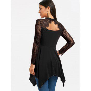 Lace Panel Cut Out Handkerchief Tunic T-shirt - BLACK S