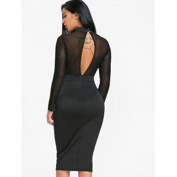 Sheer Mock Neck Bodycon Dress - BLACK M
