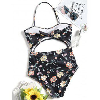 One Piece Floral Cut Out Bandeau Swimsuit - BLACK M