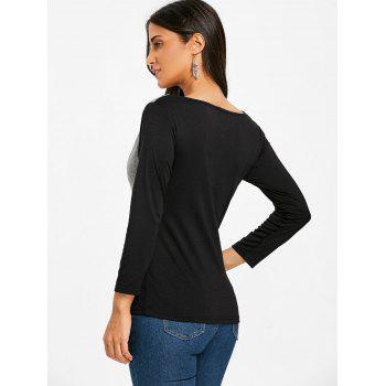 Color Block Cowl Neck Long Sleeve T-shirt - COLORMIX M