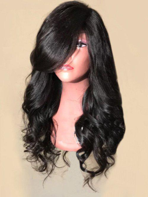 Long Inclined Bang Loose Wave Synthetic Wig - BLACK