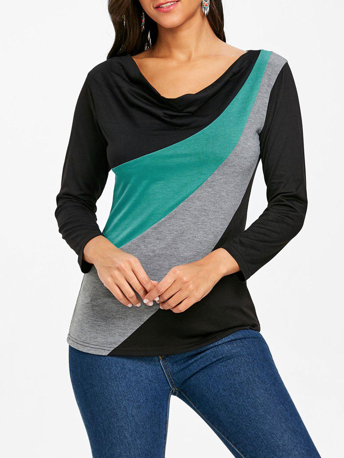 Color Block Cowl Neck Long Sleeve T-shirt - COLORMIX S