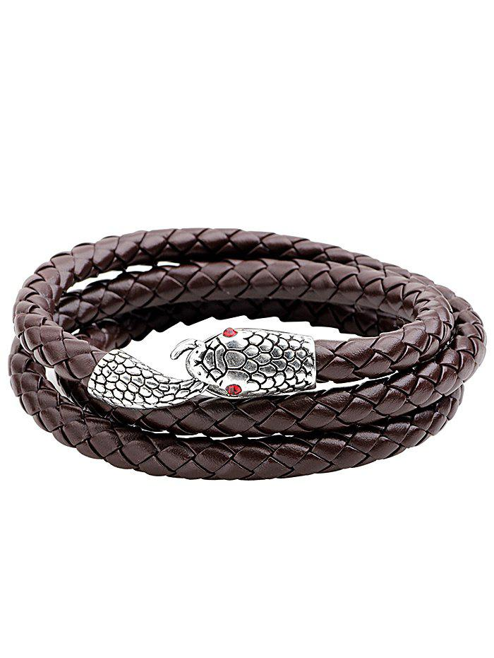 Snake with Rhinestone Eyes Faux Leather Layered Bracelet - BROWN