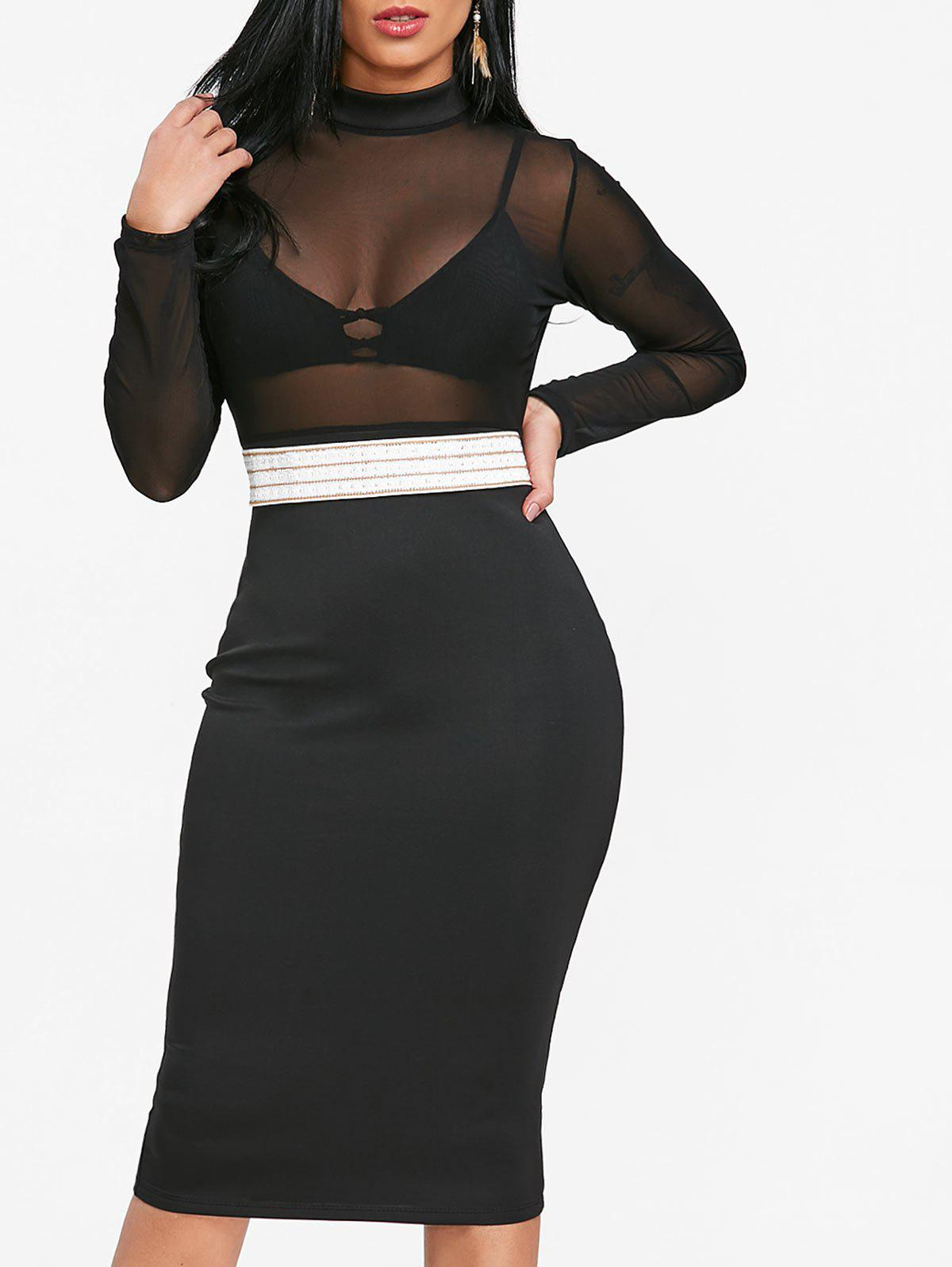 Sheer Mock Neck Bodycon Dress - BLACK L