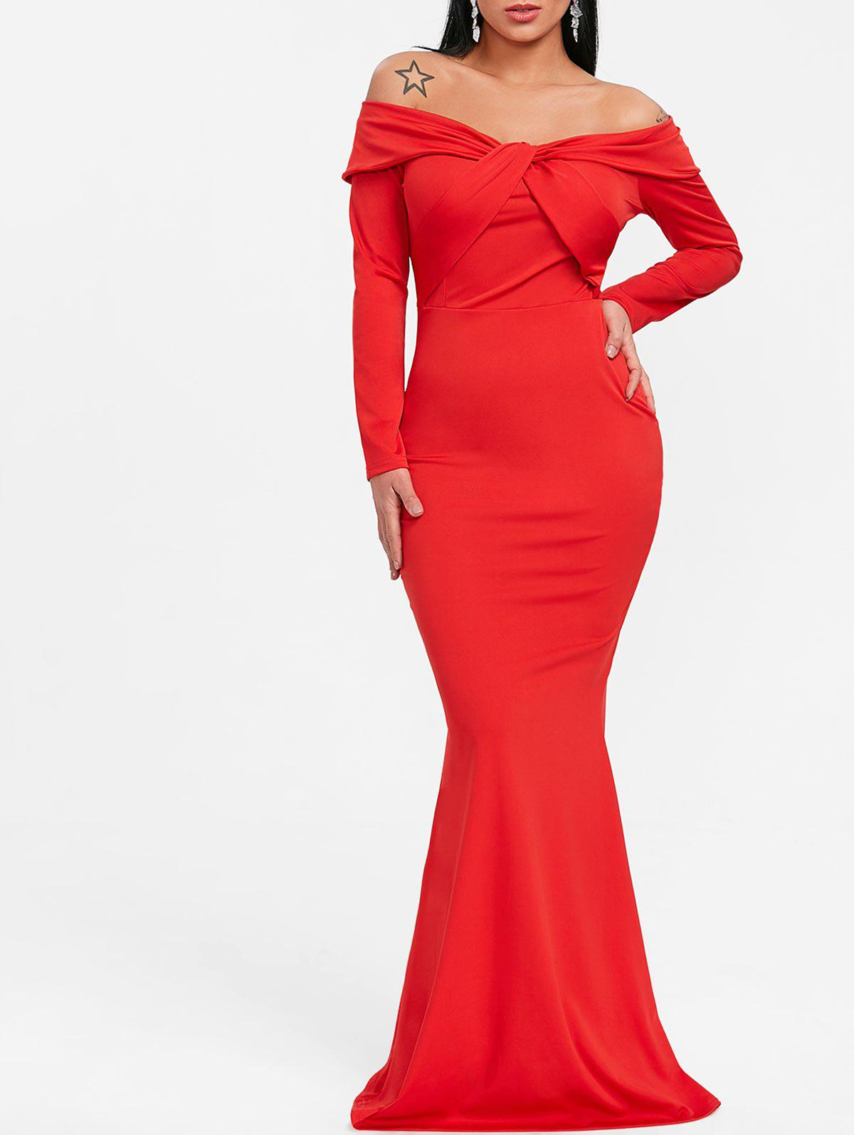 Off The Shoulder Twist Trumpet Prom Dress - RED 2XL