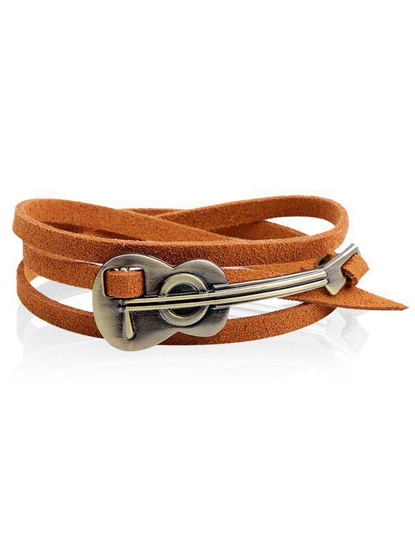 Retro Alloy Cello Faux Leather Wrap Bracelet - CAPPUCCINO