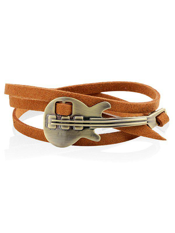 Retro Faux Leather Metal Guitar Layered Bracelet - CAPPUCCINO