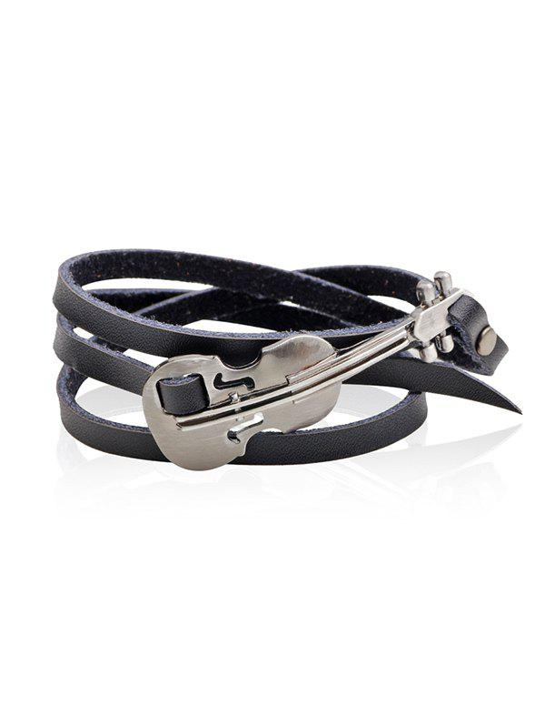 Vintage Faux Leather Metal Violin Layered Bracelet - BLACK