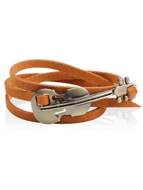 Vintage Faux Leather Metal Violin Layered Bracelet - CAPPUCCINO