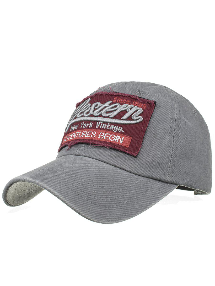 Letter Sentence Embroidery Washed Baseball Cap - GRAY