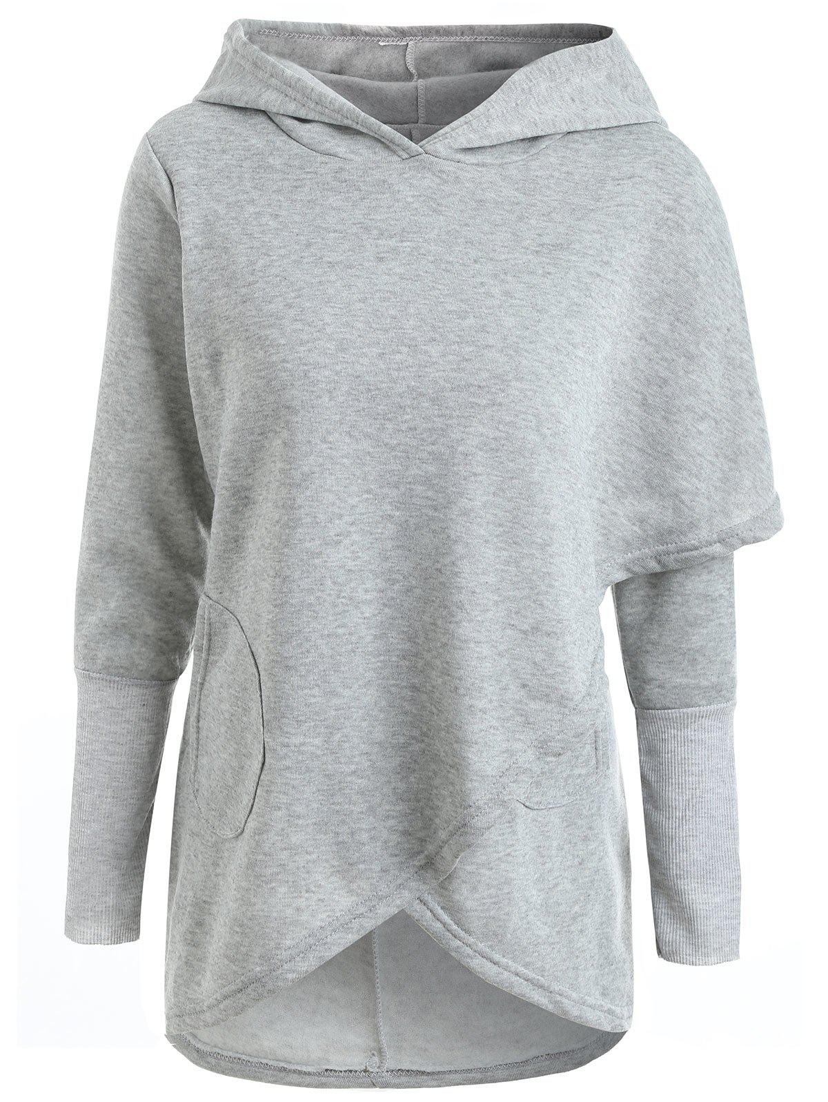 Long Sleeve Asymmetrical High Low Pullover Hoodie - GRAY M