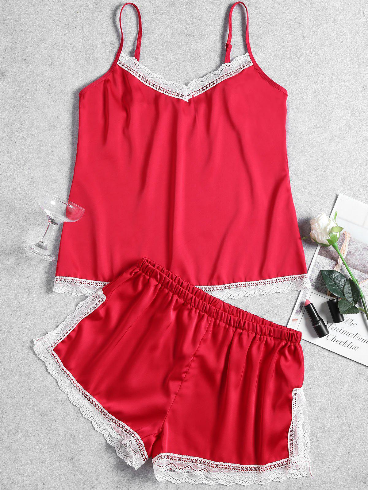 Summer Cami Lace Trim Sleep Set - RED XL