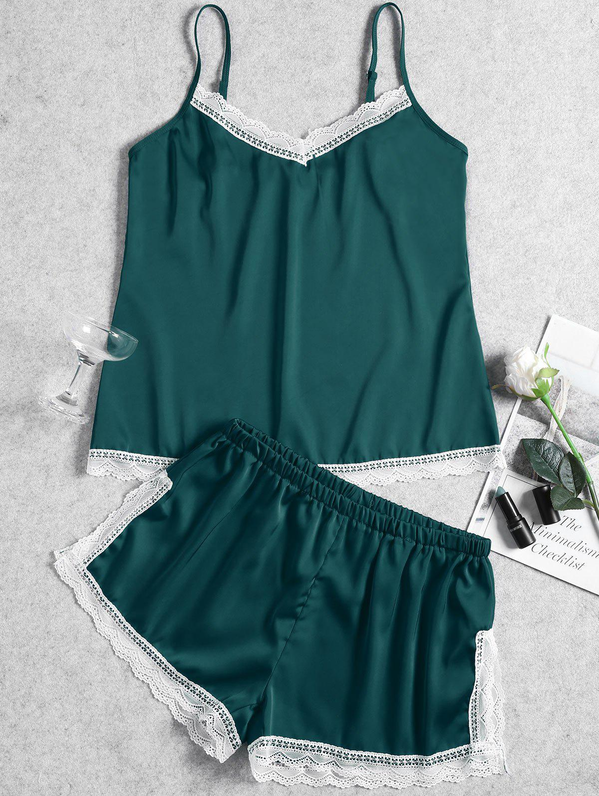 Summer Cami Lace Trim Sleep Set - GREEN 2XL