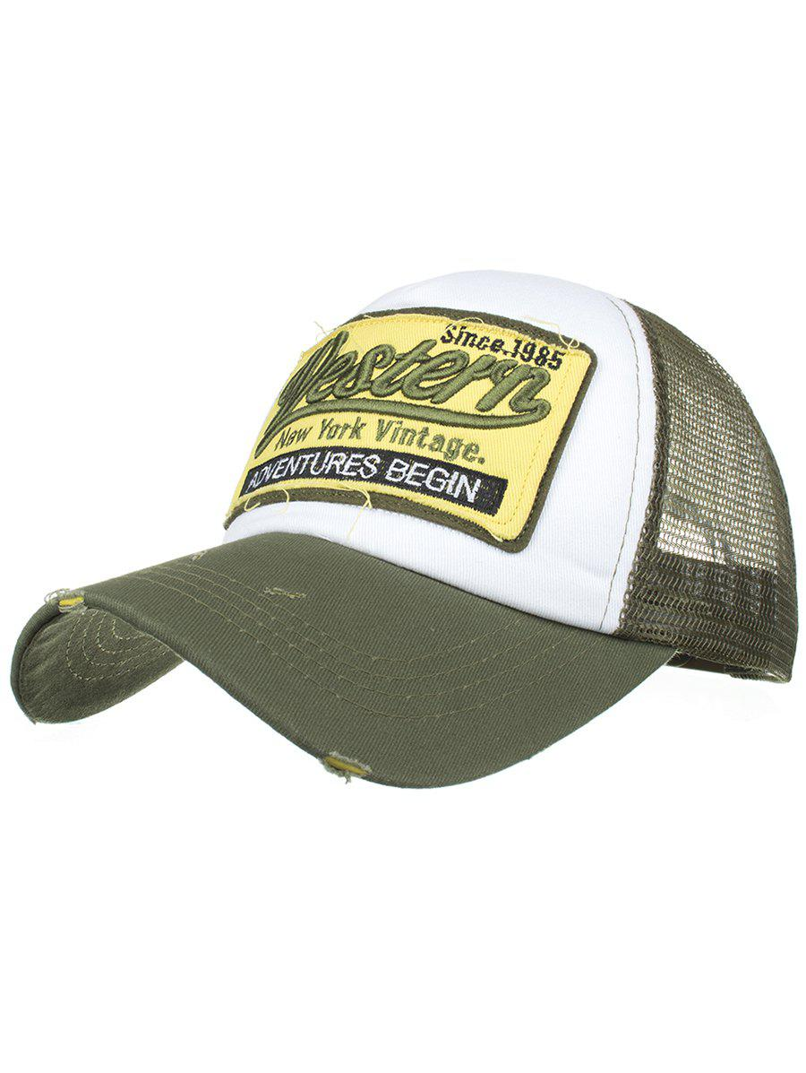 Letter Embroidery Adjustable Mesh Sunscreen Hat - ARMY GREEN