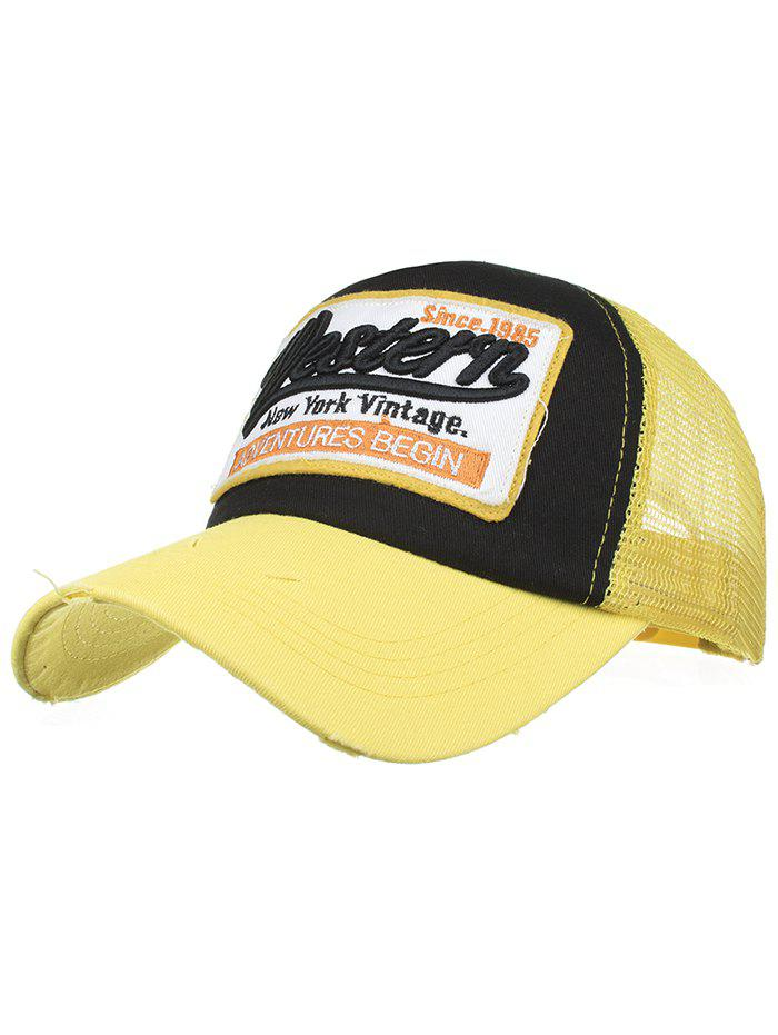Letter Embroidery Adjustable Mesh Sunscreen Hat - YELLOW